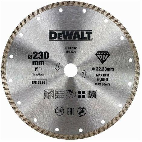 DEWALT DT3732-QZ - Disco de diamante turbo para corte en seco 230x22.2mm para mármol granito y piedra natural