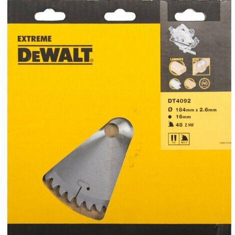 DeWalt DT4092 Extreme Lame de scie circulaire - 184 x 16 x 48T - Bois / Stratifié