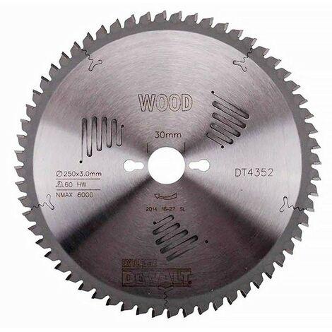 Dewalt DT4352-QZ Lame de scie circulaire stationnaire Extreme Workshop 250x30mm 60 dents 250/30