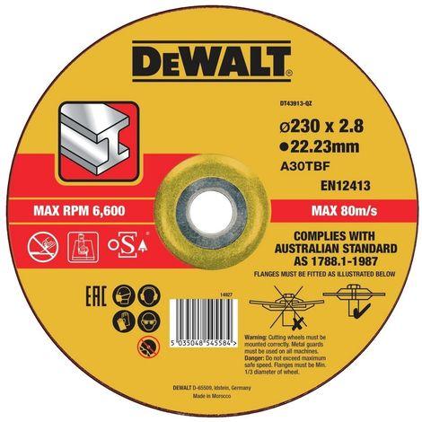 DEWALT DT43913-QZ - Disco de corte concavo para metal con grano de óxido de alumínio 230 x 2.8 x 22.23 mm