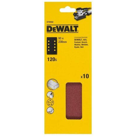 DEWALT DT8592-QZ - Pack de 10 Hoja de lija 1-3 115mm x 228mm perforada grano 120