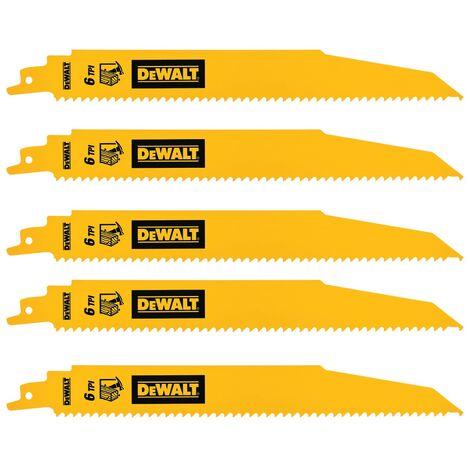 DeWalt DT90380 152mm BiM Demolition Reciprocating Sabre Saw Blades Wood 6TPI 5Pk