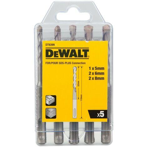 DeWalt DT9399 5 Piece SDS + SDS Plus Drill Bit Set 5mm 8mm DT9399-QZ Case