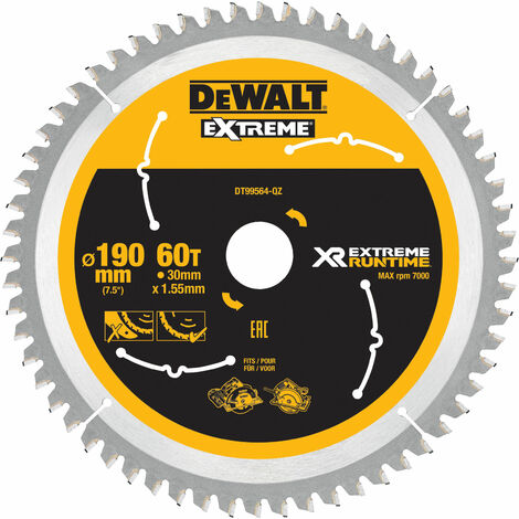 DeWalt DT99564-QZ FlexVolt XR Circular Saw Blade 190 x 30mm x 60T
