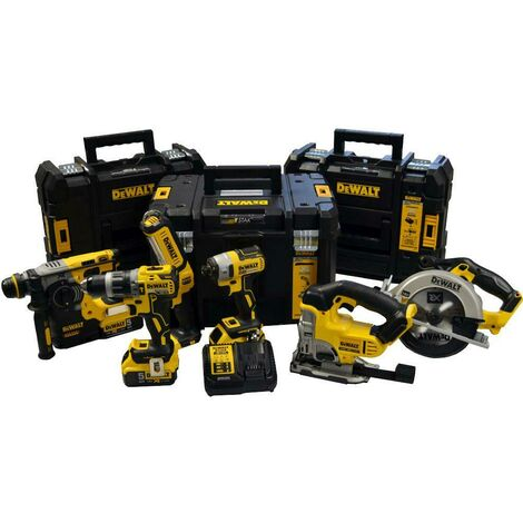DeWalt DW6KITP3T 18V 6 Piece Kit with 3x 5.0Ah Batteries & 3 Tstak Cases