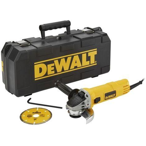DEWALT DWE4156KD-QS - Mini-amoladora 115mm 900W 11.800 rpm Arranque Suave con Bloqueo