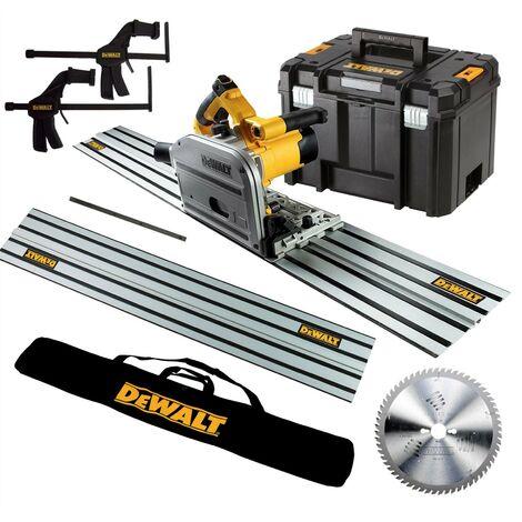 Dewalt DWS520KR 110v Plunge Saw Kit + 2x 1.5m Guide Rails + Bag + Clamps + Blade
