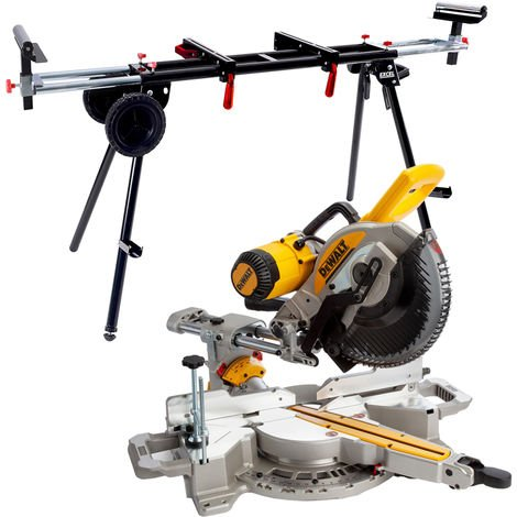 Dewalt DWS727 250mm Double Bevel Slide Mitre Saw XPS 240V + Universal Wheel Stand