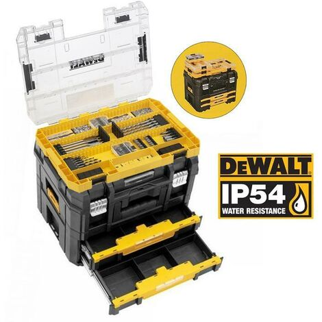 Dewalt DWST83395-1 TStak 2 IP54 Combo II IV Tool Storage Box 2 Drawers 85 Pc Set
