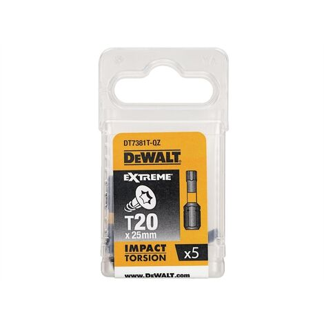 Dewalt Impact Torsion Bits TX20 25mm Pack of 5