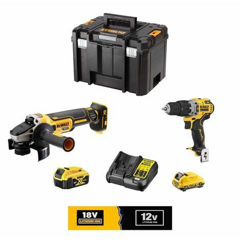 DeWALT Kit 12V/18V DCK0501L1M1T (DCG405 DCD701 1 x DCB182 18V 4,0 Ah 1 x DCB124 12V 3,0 Ah DCB107 TSTAK VI)