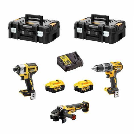DeWALT Kit DCK307P2T (DCF887 DCD796 DCG405 2 x 5,0Ah DCB115 2 x TSTAK II)