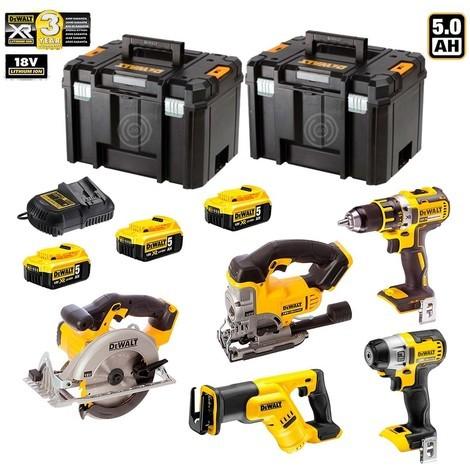 DEWALT Kit DCKXR5WP3T (DCD791 + DCF887 + DCS331 + DCS391 +DCS387 + 3 x 5,0 Ah + DCB115 + 2 x TSTAK VI)