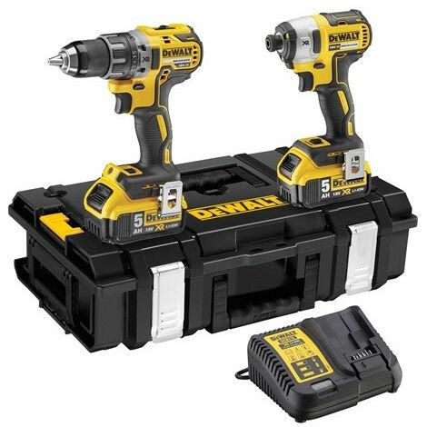 DeWalt - Kit de 2 machines 18V 2x5Ah Li-Ion Perceuse à percussion + visseuse à chocs - DCK266P2