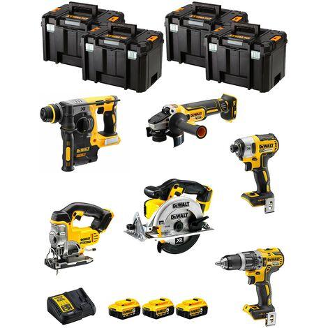 DeWALT Kit DWK600T (DCD796 DCH273 DCG405 DCF887 DCS331 DCS391 3 x 5,0 Ah DCB115 4 x TSTAK VI)