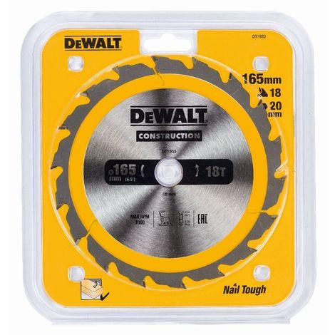 DeWALT Lame de scie circulaire, 165/20 mm, 18 dents - DT1933-QZ