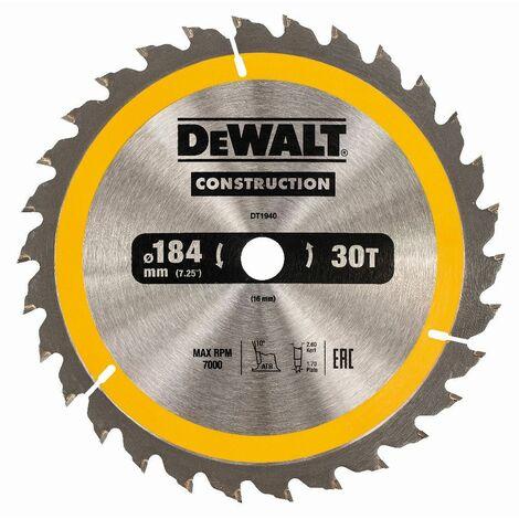 DeWALT Lame de scie circulaire, 184/16 mm, 30 dents - DT1940-QZ
