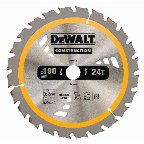 DeWALT Lame de scie circulaire, 190/30 mm, 24 dents - DT1944-QZ