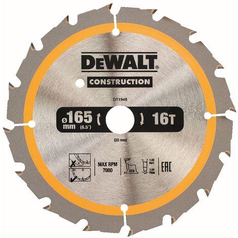 DeWALT Lame de scie circulaire, pour scies circulaires sans fil, 165/20 mm, 16 dents - DT1948-QZ