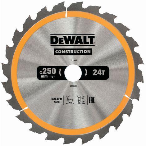 DeWALT Lame de scie circulaire, stationnaire, 250/30 mm, 24 dents - DT1956-QZ