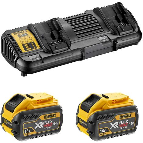 Dewalt - Pack 2 batteries XR FLEXVOLT 18V/54V 9Ah/3Ah Li-Ion + chargeur double - DCB132X2 - TNT