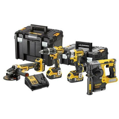 DeWalt - Pack 4 outils XR 18V 5Ah Li-Ion Brushless avec coffret T-STAK - TNT