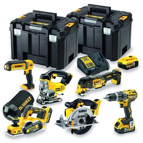 Dewalt - Pack 6 outils XR 18V Li-Ion 3x 5Ah avec 2 coffrets T-STAK - DCK665P3T