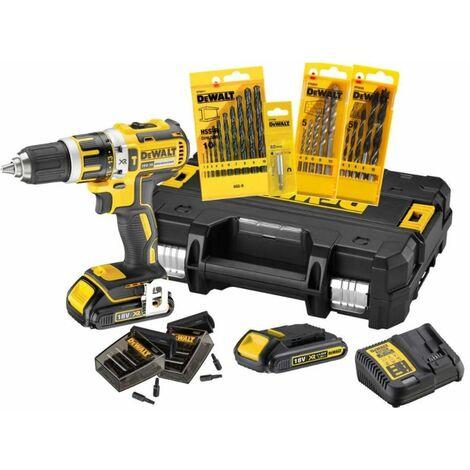 DEWALT Set de perceuse ? percussion sans fil 18V 2x batteries 1,5 Ah avec accessoires DCK795S2T