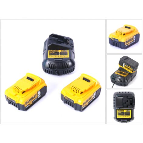 DeWalt Starter Kit DCB105P2-QW 18V: 2x Batteries DCB 184 5,0 Ah + 1x Chargeur DCB 115