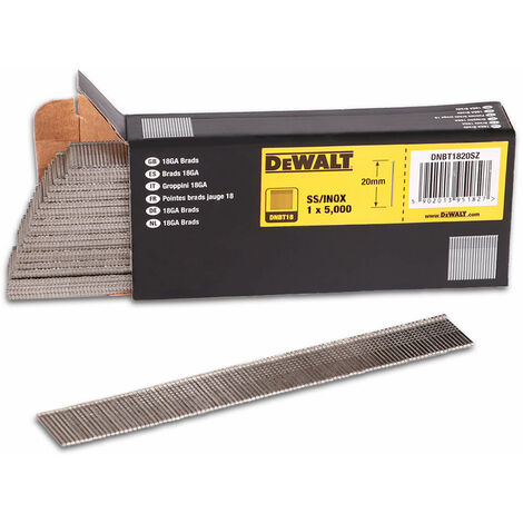 DeWALT Stauchkopfnagel DNBT, Druckluftnagel, Tacker, Stifte, Edelstahl, verschiedene Längen, 1,25 x 1 mm Drahtmaß - 5000 Stück