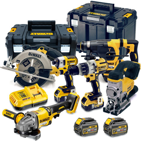 DeWalt TDKIT6X4 18V/54V 6 Piece Kit with 2x 5.0Ah & 2x 6.0Ah Batteries