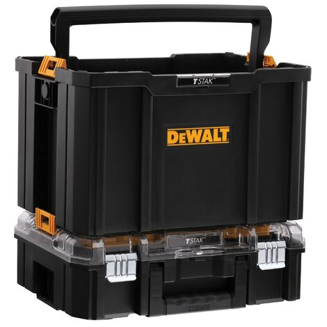 Dewalt Tstak Tool Carry Open Tote Tool Box Carrier + Clear Organiser - Twin Pack