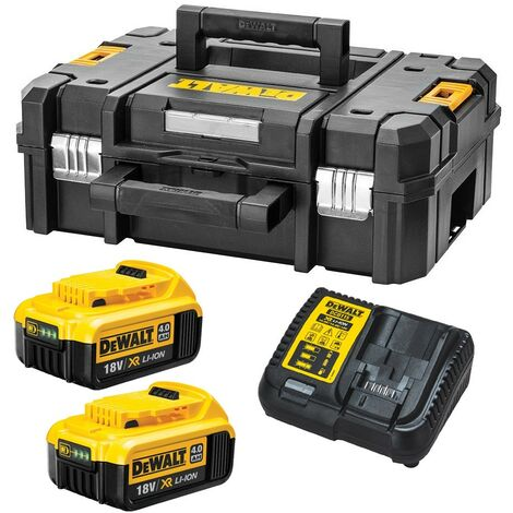 Dewalt XR Power Source Kit 2x DCB182 4.0ah 18v Batteries + DCB115 Charger +Tstak
