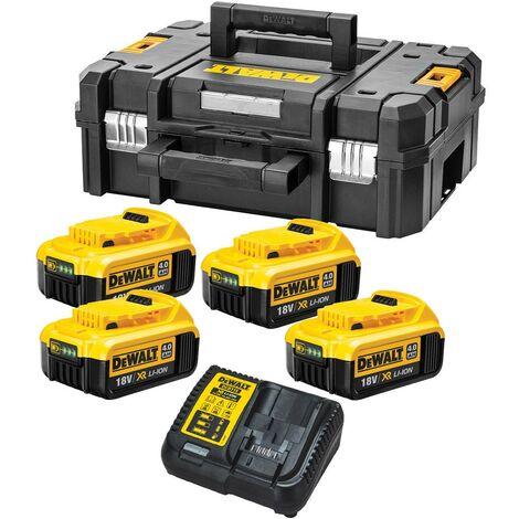 Dewalt XR Power Source Kit 4x DCB182 4.0ah 18v Batteries + DCB115 Charger +Tstak