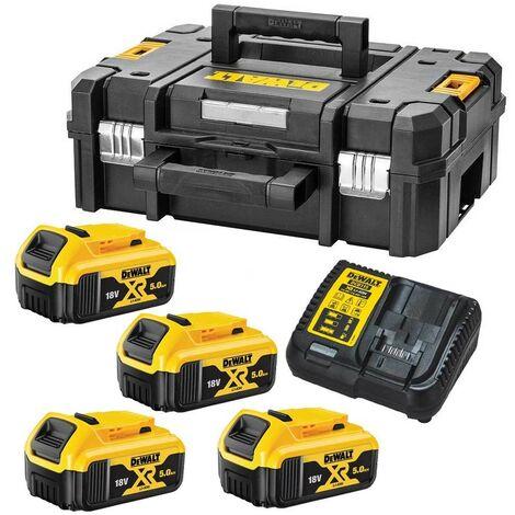Dewalt XR Power Source Kit 4x DCB184 5.0ah 18v Batteries + DCB115 Charger +Tstak