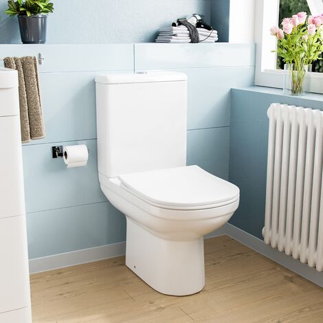 Deyed Close Coupled Toilet Pan, Cistern and Toilet Seat White