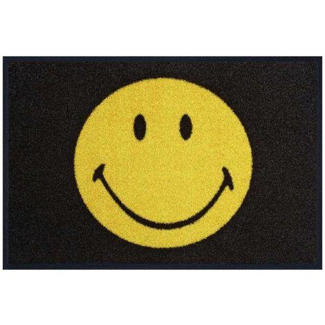 Dezenco SMILSMILEY KT 50x75 cm Tapis enfant Paillasson Entrée Paillasson Rectangulaire Paillasson Noir