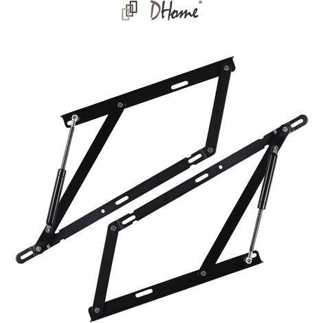 DHOME Pack 2 Sistema de elevacion hidráulicos + bisagras para canape abatible pistones (1400N (160 a 180cm Ancho canapé))
