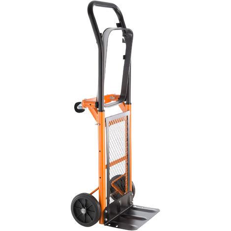 Diable de Transport Pliable à Roues Porte Poubelle Charge 80 kg Noir Orange