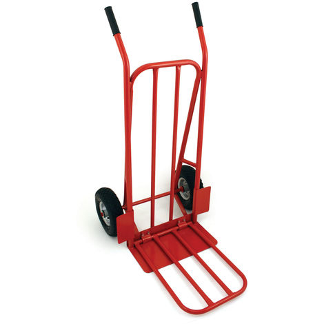 Diable pliable robuste charge maximale 200 kg - roues pneumatiques - rouge