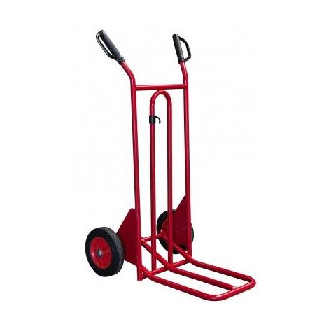 Diable rouge à bavette repliable - 250 kg - Roues pneumatiques - Modèle : basculement assisté