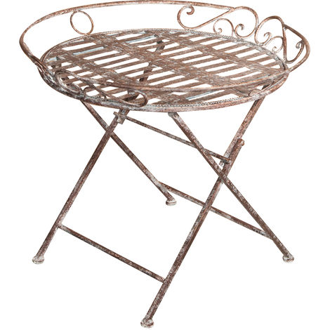 Diam. 70XH60 cm wrought iron made antiqued rust folding tray table