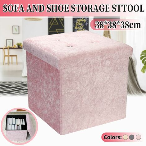 Diamante Ottoman 38x38x38cm Crushed Velvet Folding Seat Stool (Pink)