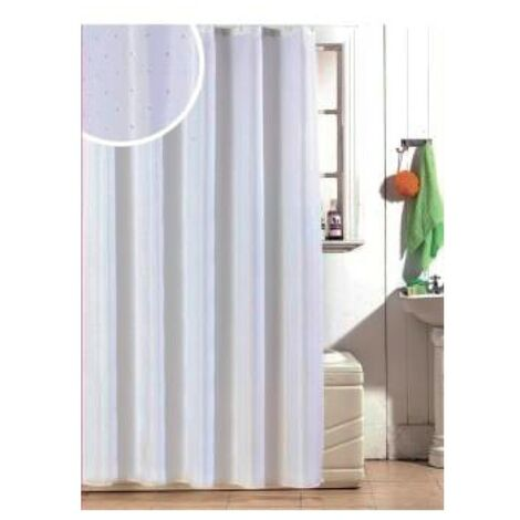 Diamante Polyester Shower Curtain 1800mm x 1800mm - White