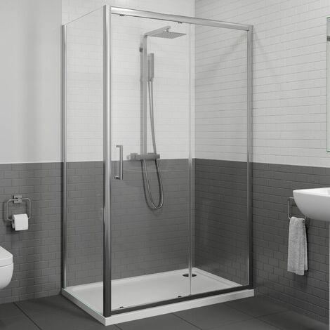Diamond 1400x800mm Sliding Shower Door & Side Panel 8mm