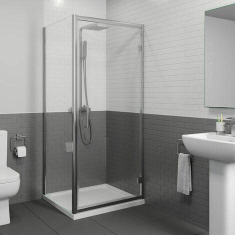 Diamond 900mm x 700mm Hinged Shower Door & Side Panel - 8mm Glass