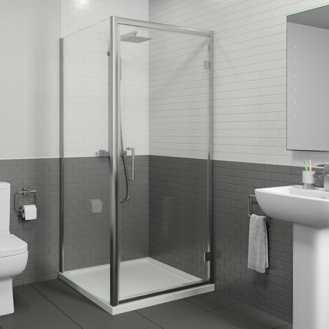 Diamond 900mm x 900mm Hinged Shower Door & Side Panel - 8mm Glass