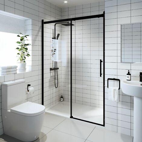"""main image of """"Diamond Bathroom Frameless Sliding Shower Door 1200mm Black 8mm Safety Glass"""""""
