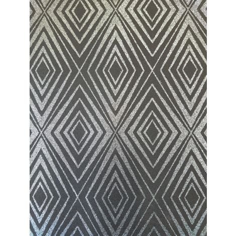 Diamond Black Silver Geometric Glitter Wallpaper Shimmer Sparkle Paste Wall P+S