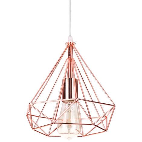 Diamond Ceiling Light Contemporary Pendant Light Cage Hanging Light Modern Pendant Lamp Rose Gold Metal Iron Lamp Shade